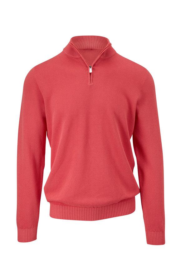 Fedeli Pink Cotton Quarter-Zip Pullover