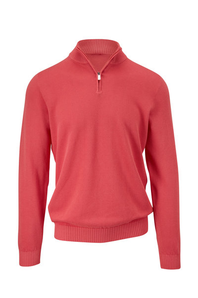 Fedeli - Pink Cotton Quarter-Zip Pullover