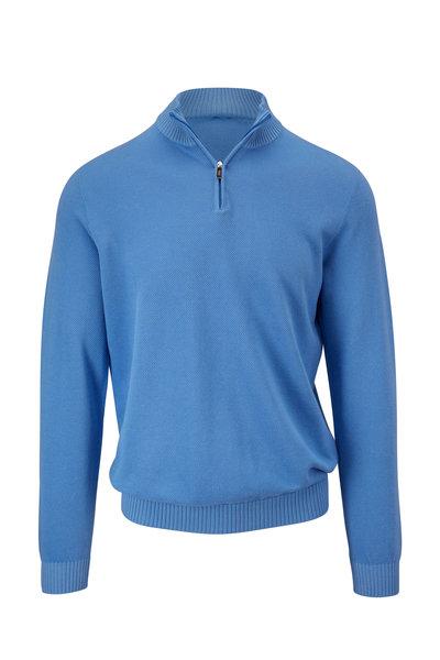 Fedeli - Royal Blue Cotton Quarter-Zip Pullover