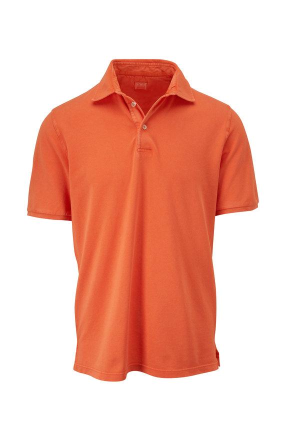 Fedeli Orange Piqué Short Sleeve Polo