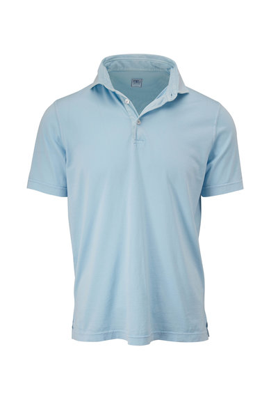 Fedeli - Light Blue Frosted Jersey Short Sleeve Polo