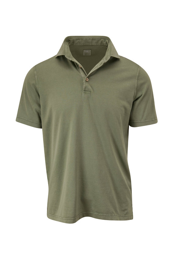 Fedeli Sage Frosted Jersey Short Sleeve Polo
