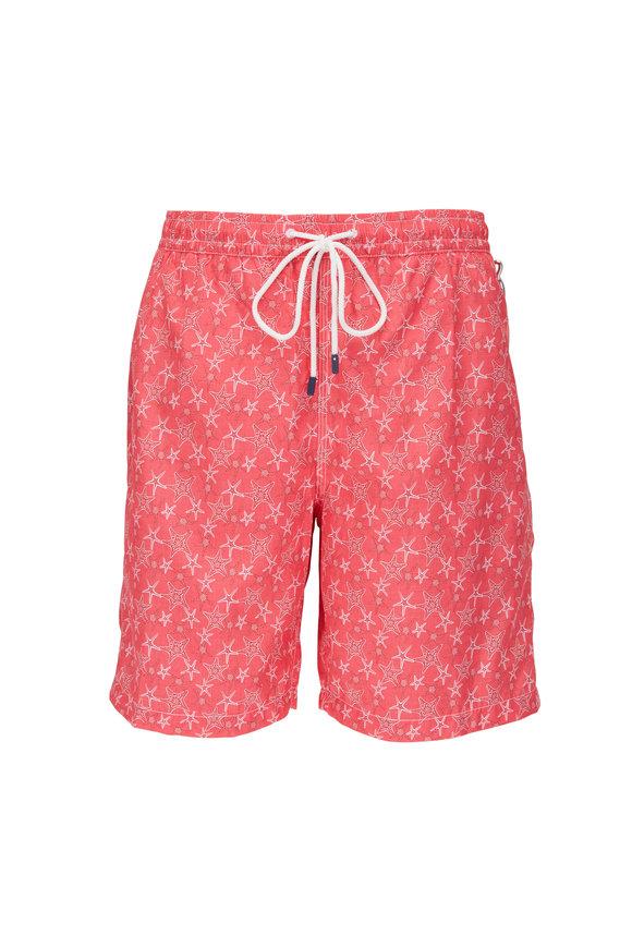 Fedeli Red Starfish Print Swim Trunks