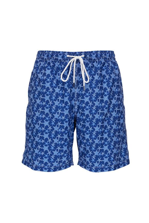 Fedeli Navy Starfish Print Swim Trunks