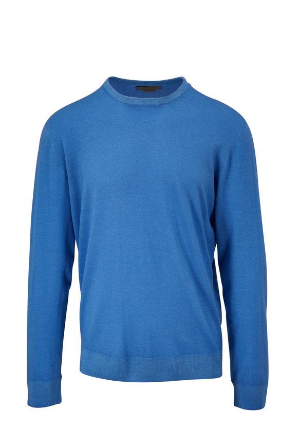 Corneliani Light Blue Virgin Wool Crewneck Pullover
