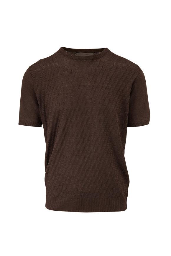 Corneliani Brown Jacquard Short Sleeve Knit Top