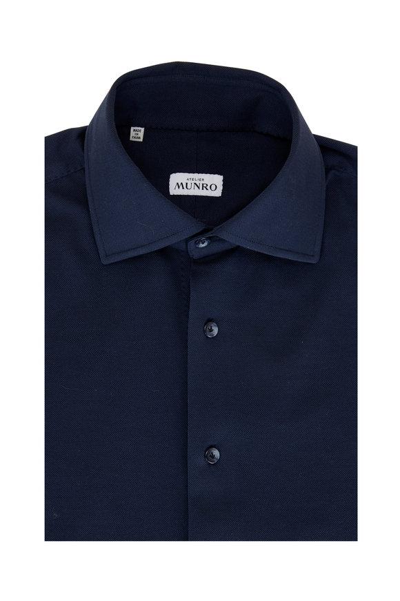 Atelier Munro Midnight Blue Cotton Piqué Sport Shirt