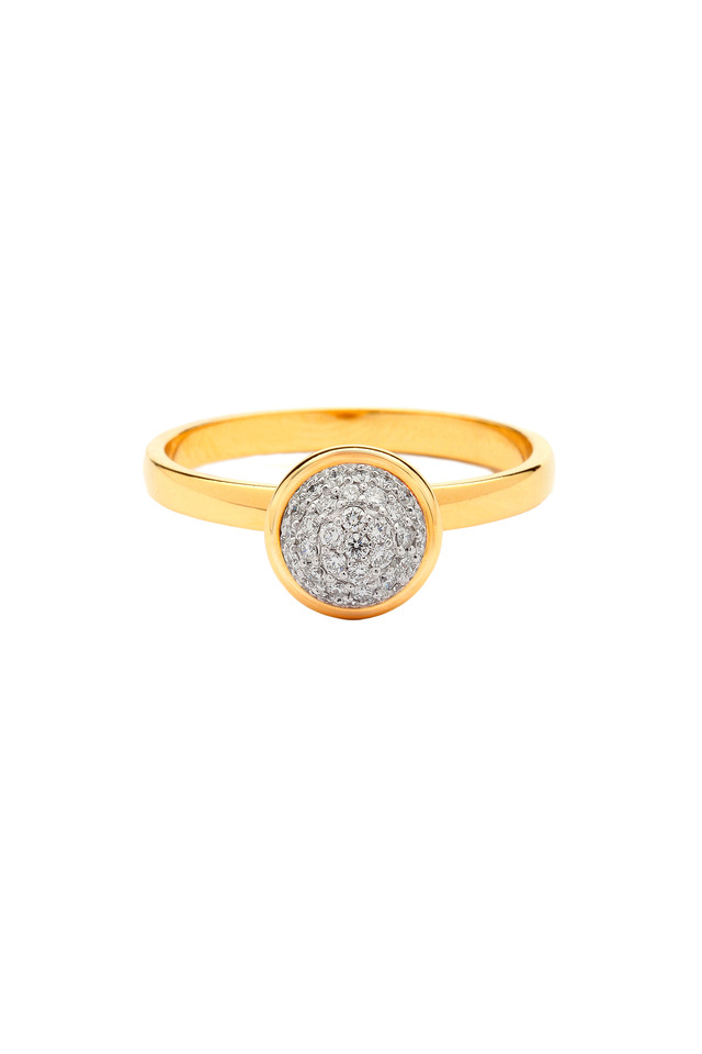Baubles Yellow Gold White Diamond Stack Ring