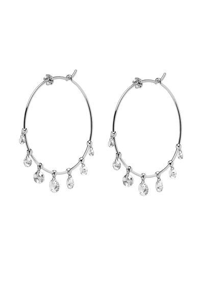 Paul Morelli - 18K White Gold Diamond Dangle Wire Hoop Earrings