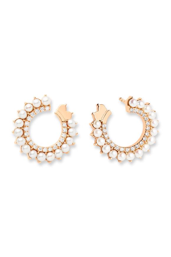Nouvel Heritage Rose Gold Diamond & Pearl Vendome Earrings