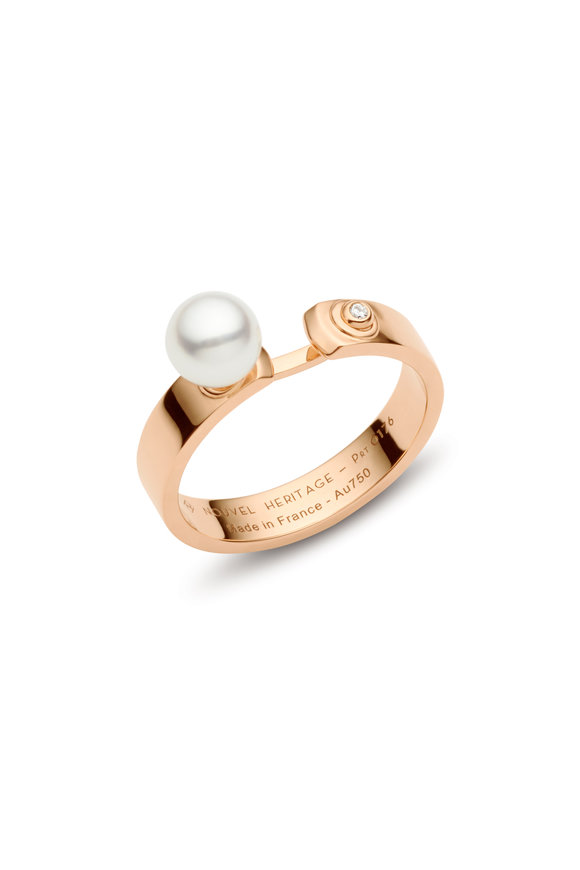 Nouvel Heritage Rose Gold Diamond & Pearl Lunch With Mom Mood Ring