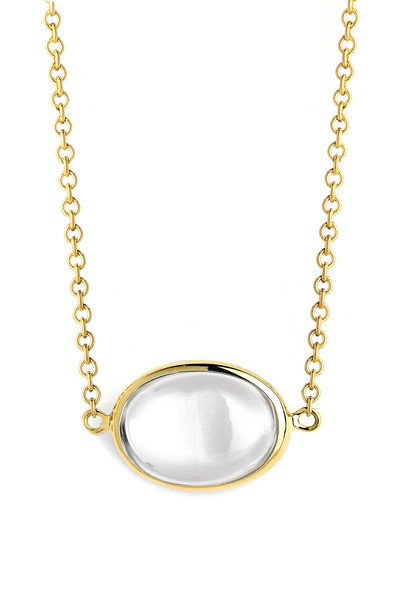 Syna - Gold Crystal Cobblestone Pendant Chain Necklace