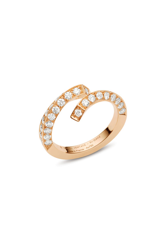 Nouvel Heritage Rose Gold Pavé Thread Ring