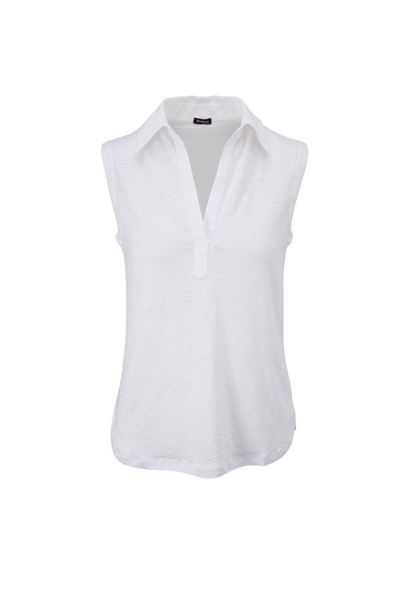 Kiton White Linen Sleeveless Top