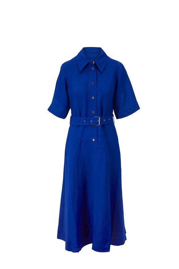 CO Collection Cobalt Gathered Waist Short Sleeve Shirt Dress