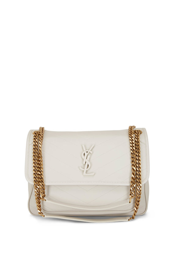 Saint Laurent Niki Cream Soft Leather Medium Shoulder Bag