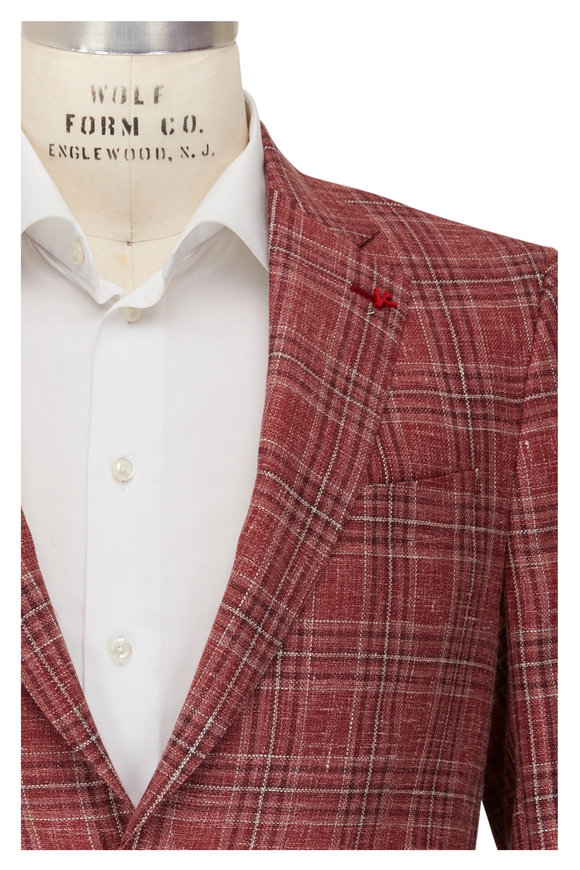 Isaia Red Plaid Summer Hopsack Sportcoat