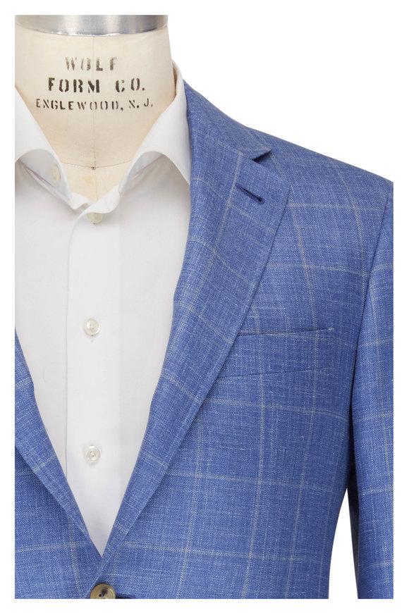 Canali Kei Blue Windowpane Wool, Silk & Linen Sportcoat