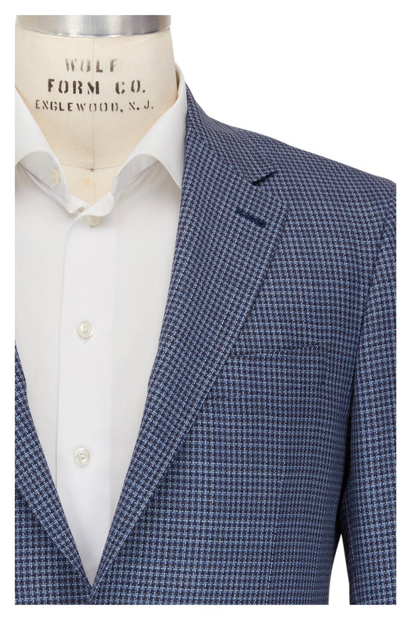 Canali Navy Blue & White Check Wool Sportcoat