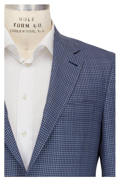 Canali - Navy Blue & White Check Wool Sportcoat