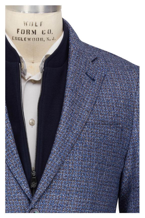 Corneliani Light Blue & Cognac Woven Dickey Jacket