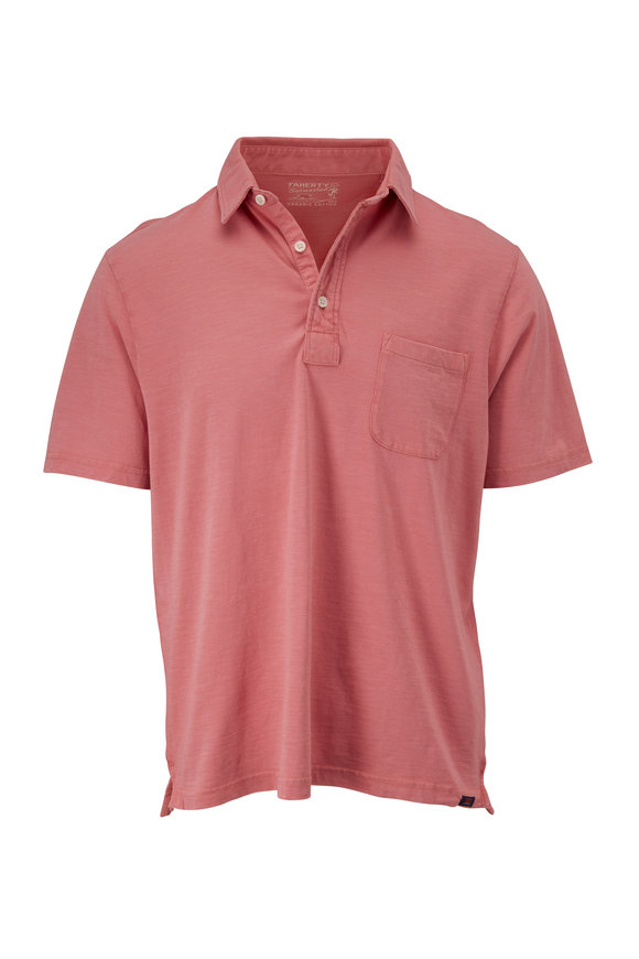 Faherty Brand Sunwashed Faded Flag Short Sleeve Polo