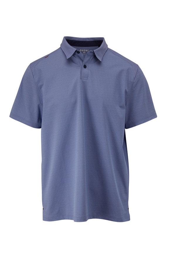 Rhone Apparel Commuter Blue Herringbone Short Sleeve Polo