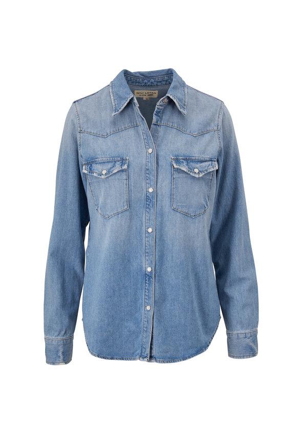 Nili Lotan Travis Light Blue Wash Denim Shirt