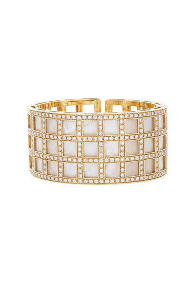 Kathleen Dughi - 18K Gold Mother Of Pearl & Diamond Cuff Bracelet