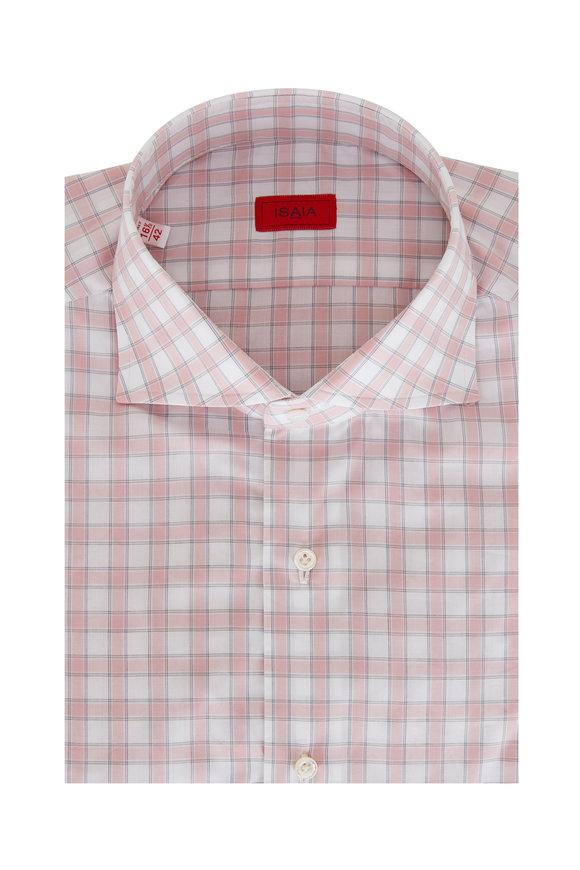 Isaia Pink & White Check Sport Shirt