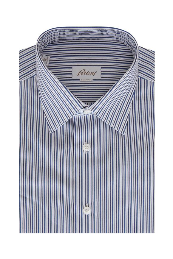 Brioni Dark Navy Stripe Sport Shirt