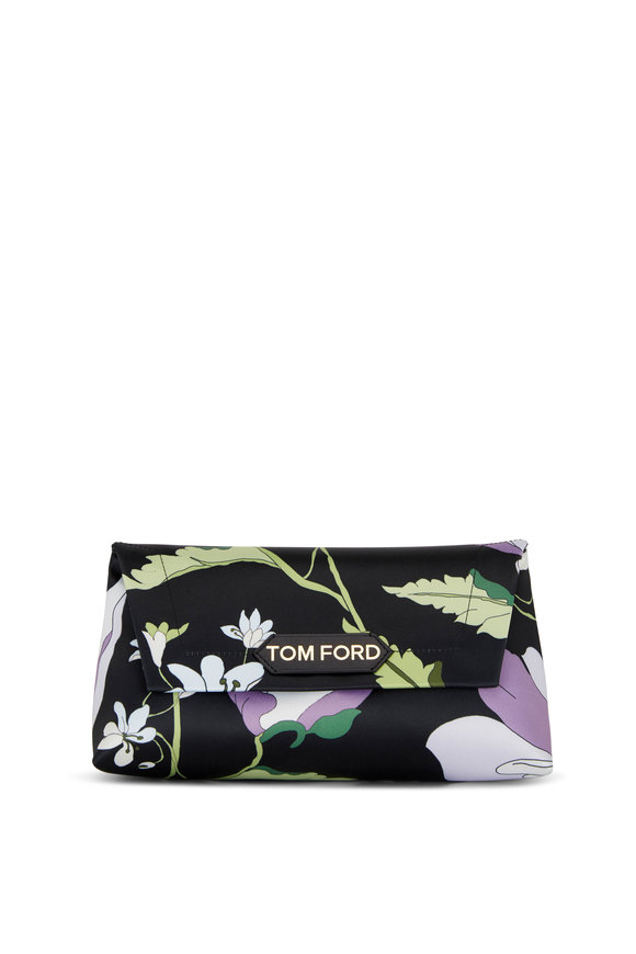 Tom Ford Label Lavender & Black Poppy Print Small Chain Bag