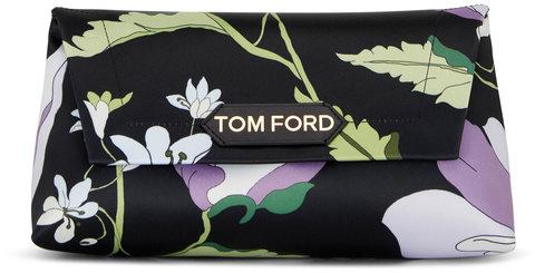 Tom Ford Label Lavender & Black Poppy Print Small Chain Bag