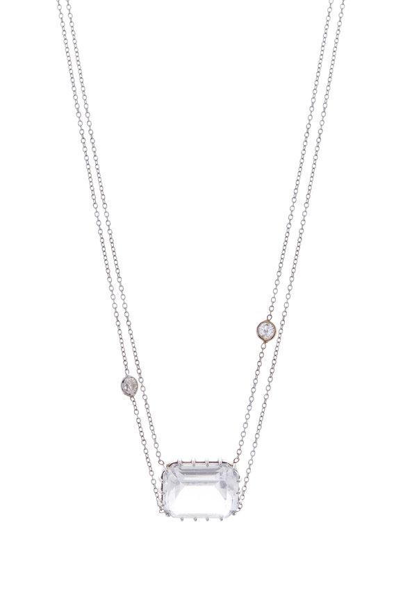 Renee Lewis White Gold Rock Quartz & Diamond Necklace