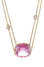 Renee Lewis - Yellow Gold Synthetic Pink Topaz Necklace
