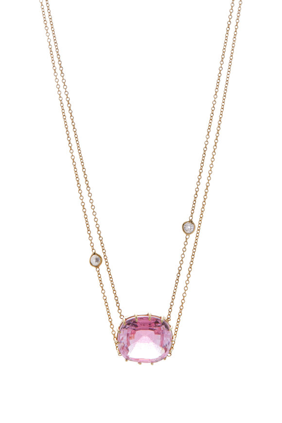 Renee Lewis Yellow Gold Synthetic Pink Topaz Necklace