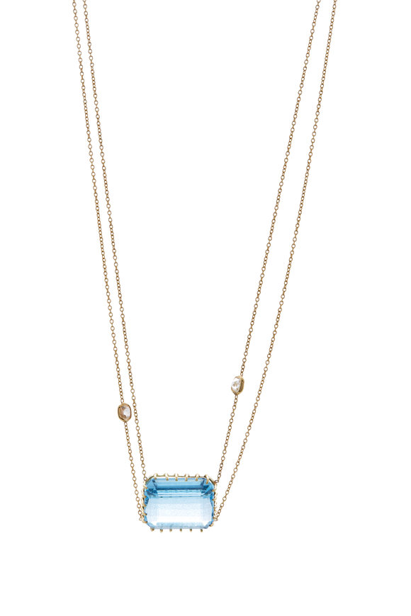 Renee Lewis Yellow Gold Aquamarine & Diamond Necklace