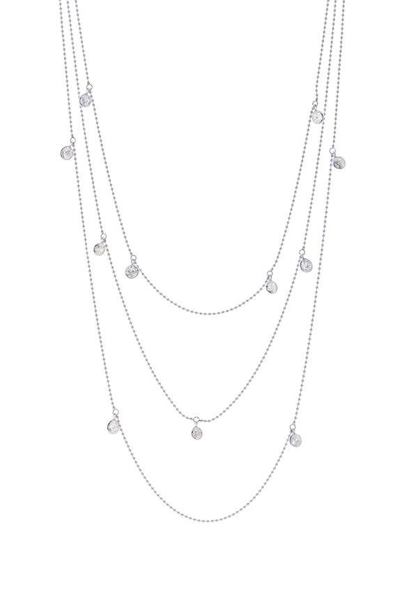 Renee Lewis White Gold 3 Chain Antique Diamond Necklace