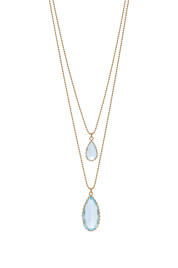 Renee Lewis Yellow Gold Aquamarine Teardrops Necklace