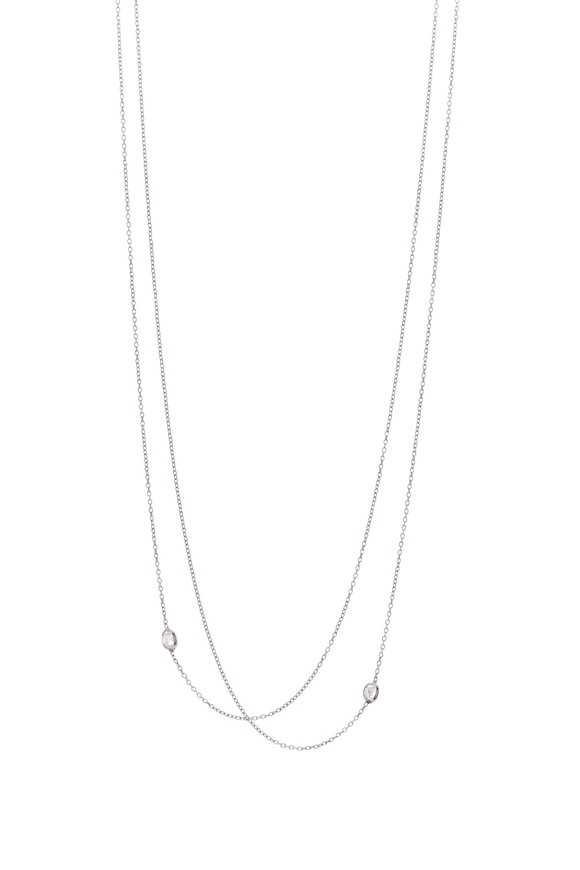 Renee Lewis 18K White Gold Two Chain Antique Diamond Necklace