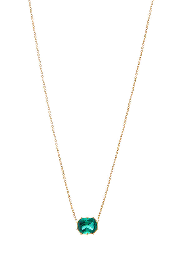 Renee Lewis 18K Yellow Gold Synthetic Emerald Necklace