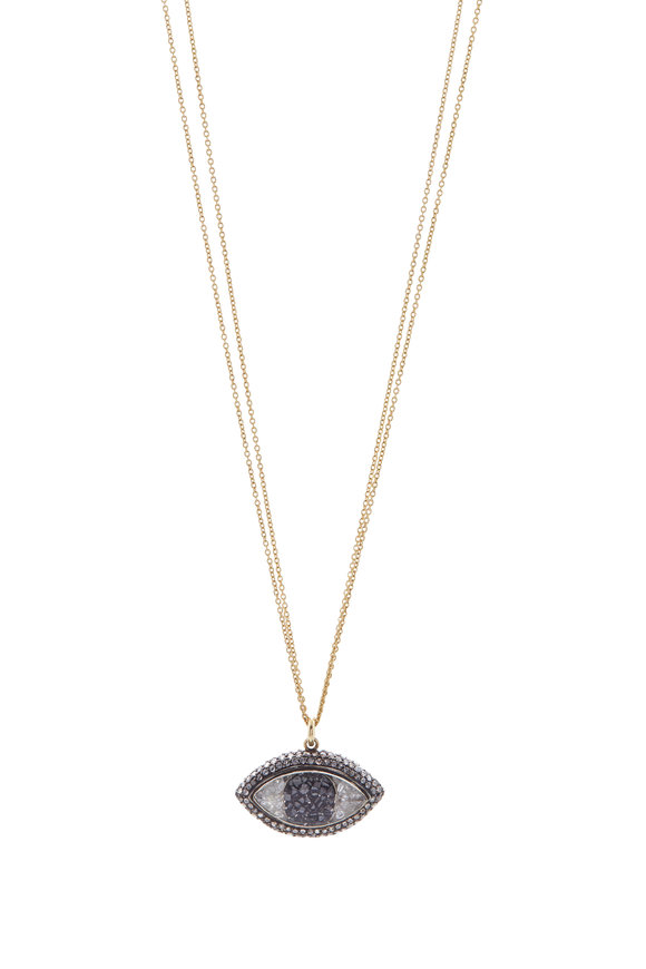 Renee Lewis Yellow Gold Black & White Diamond Shake Necklace