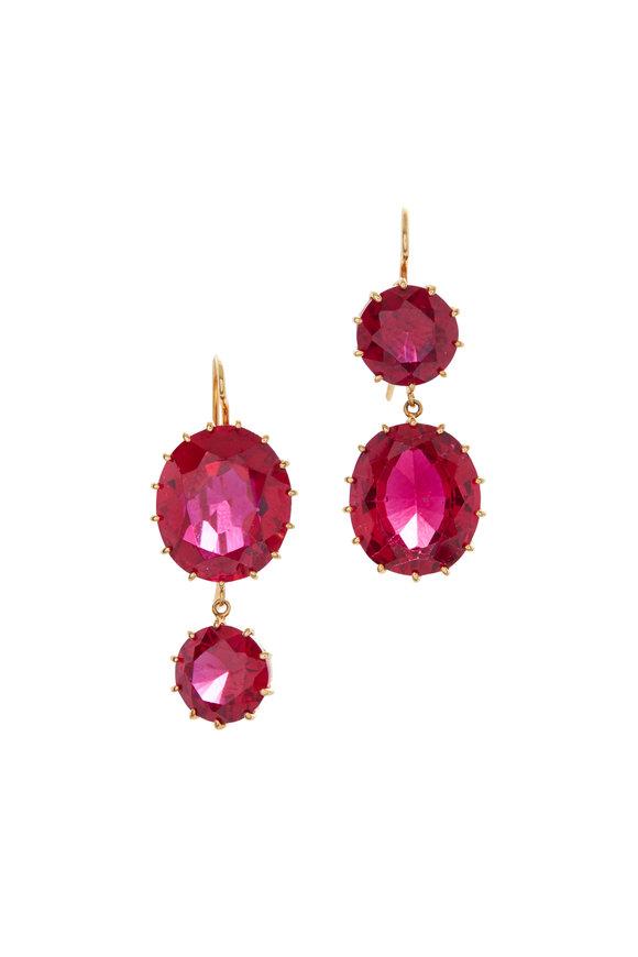 Renee Lewis 18K Yellow Gold Synthetic Ruby Earrings