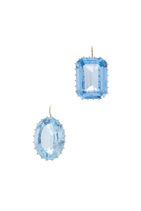Renee Lewis 18K White Gold Synthetic Sapphire Earrings