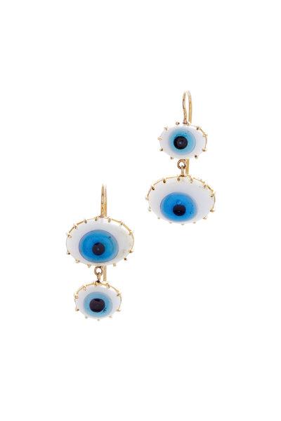 Renee Lewis - Yellow Gold Turkish Glass Eye Earrings
