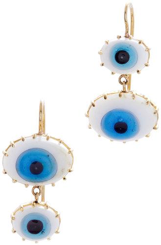 Renee Lewis Yellow Gold Turkish Glass Eye Earrings