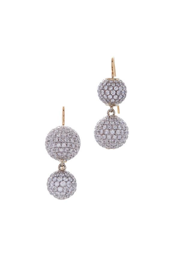 Renee Lewis Yellow Gold Pavé Sphere Earrings