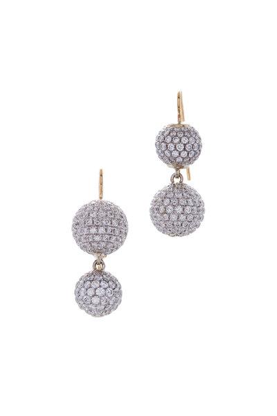 Renee Lewis - Yellow Gold Pavé Sphere Earrings