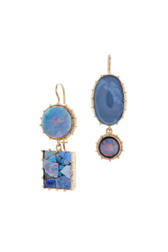 Renee Lewis 18K Yellow Gold Mosaic & Black Opal Earrings