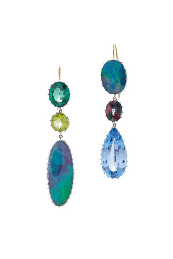 Renee Lewis White Gold Three Drop Synthetic Spinel Earrings